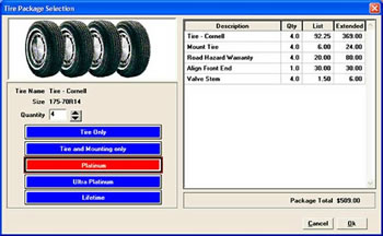 ShopKey Shop Management Tire Package Selection Screen